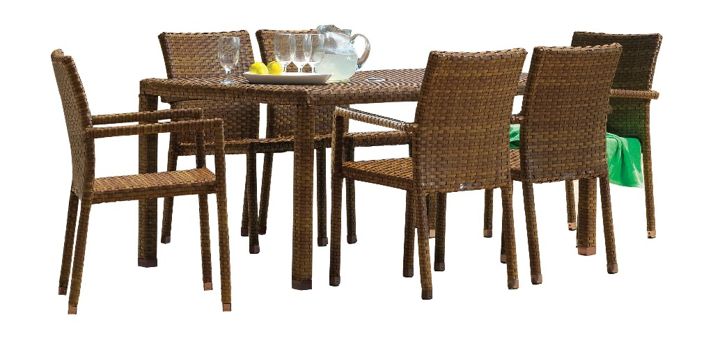 Panama Jack Furniture Rectangular Dining Armchair Set Photo