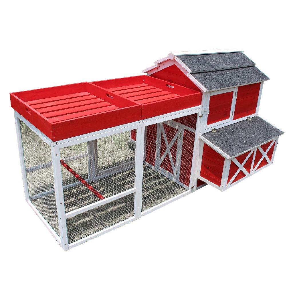 Red Barn Chicken Coop w/ Roof Top Planter - Zoovilla PTH0310010401