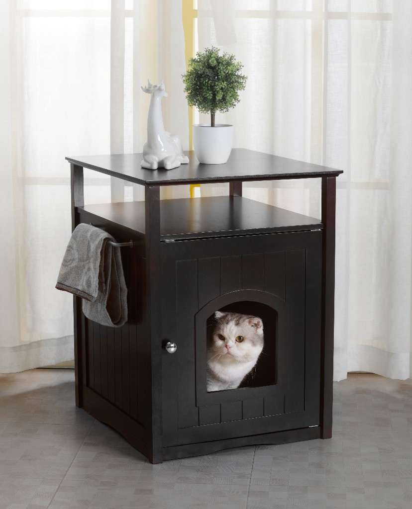 Cat Washroom Litter Box Cover / Night Stand Pet House in Black - Zoovilla PTH0951721710