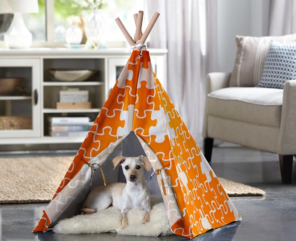 Pet Teepee, Orange Puzzle, Medium - Zoovilla PTP0030203200
