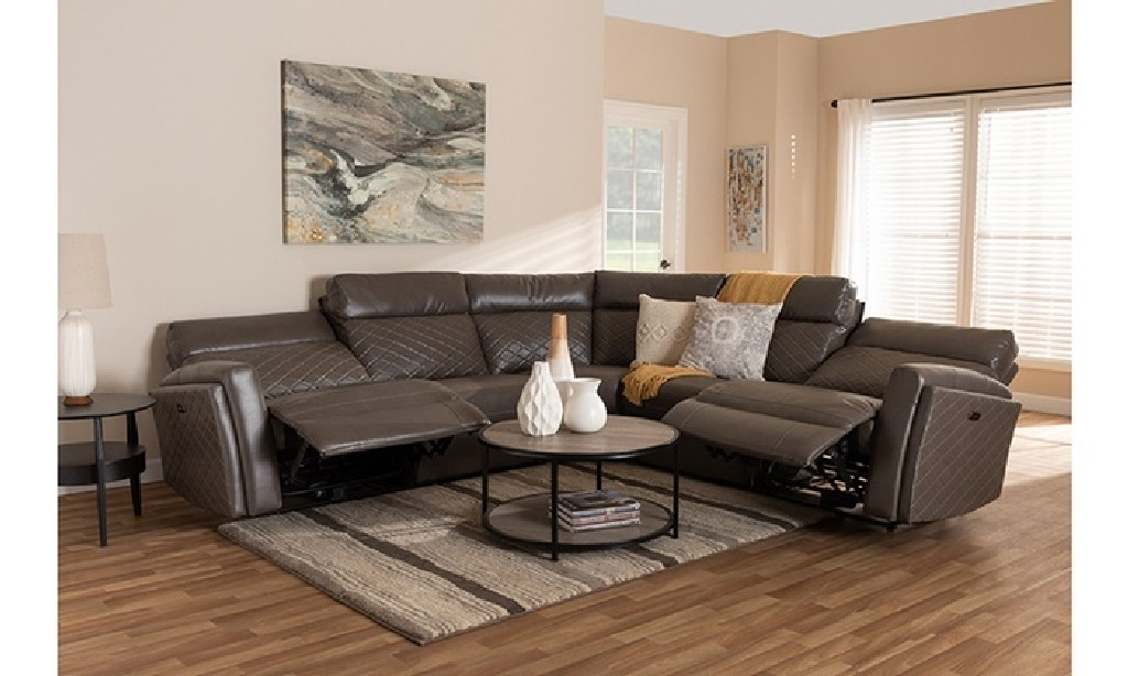 Leather Upholstered Power Recliner Sectional Sofa Reclining