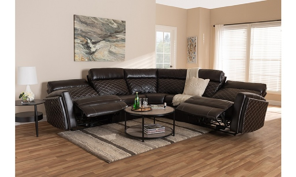 Brown Leather Upholstered Power Recliner Sectional