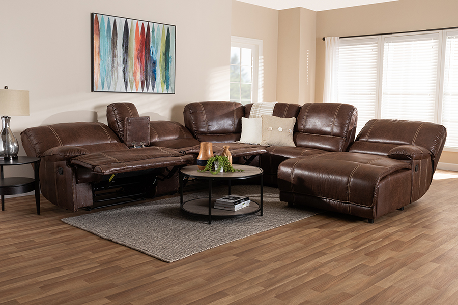 Wholesale Interiors Salomo Modern Contemporary Brown Faux Leather Upholstered