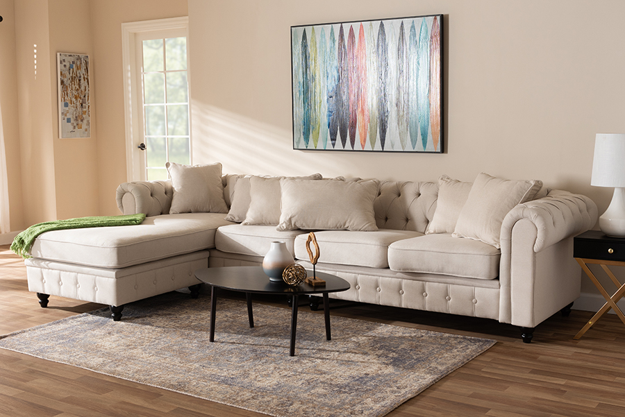 Wholesale Interiors Luisa Traditional Beige Fabric Upholstered Reversible