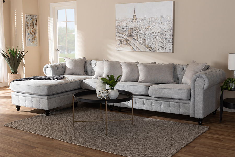 Wholesale Interiors Luisa Traditional Grey Fabric Upholstered Reversible