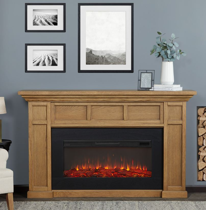 Alcott Landscape Electric Fireplace in English Oak - Real Flame 4130E-EO