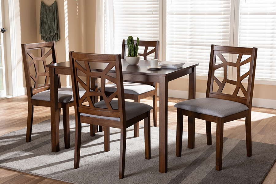 Baxton Studio Abilene Mid-Century Walnut Finished and Grey Fabric Upholstered 5-Piece Dining Set - 95-RH3010C-Walnut/Grey Dining Set