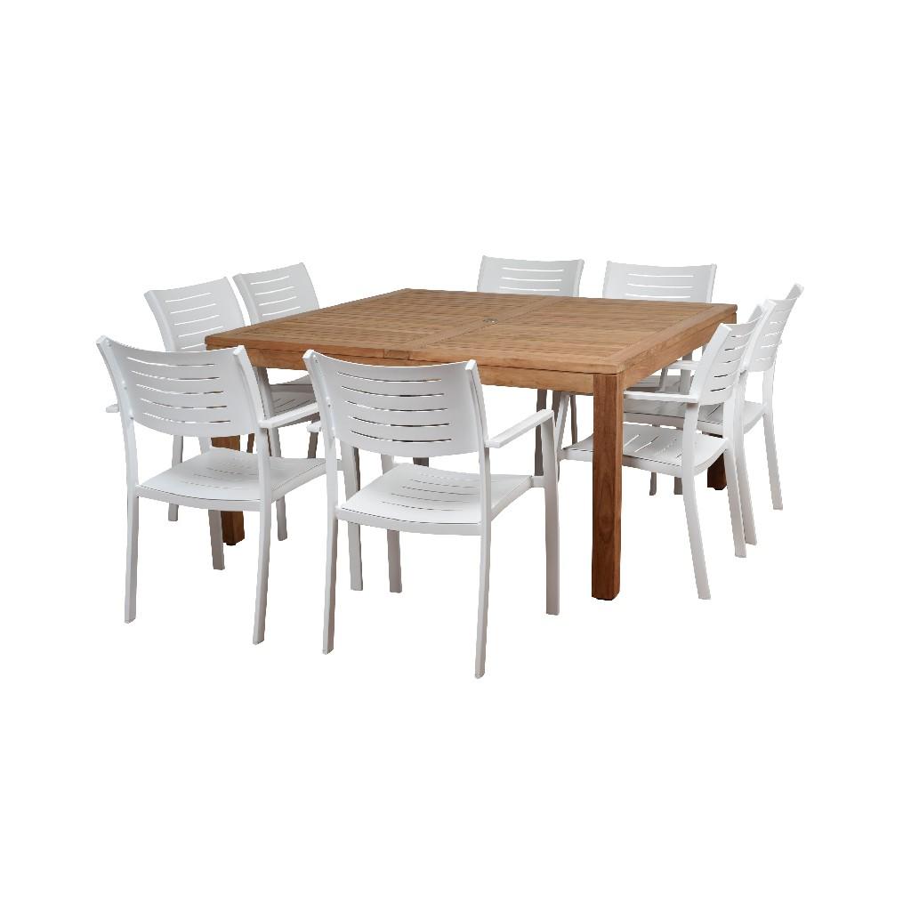 Amazonia 9 Piece Teak Square Patio Dining Set - International Home RINSQ_8PORTNELS