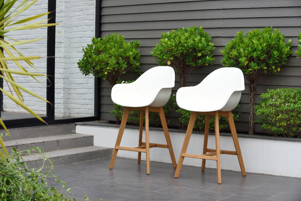 Amazonia Wood 2 Piece Barstool Set, in a Light Teak Finish - International Home SC 2CONCARM LOTWHT