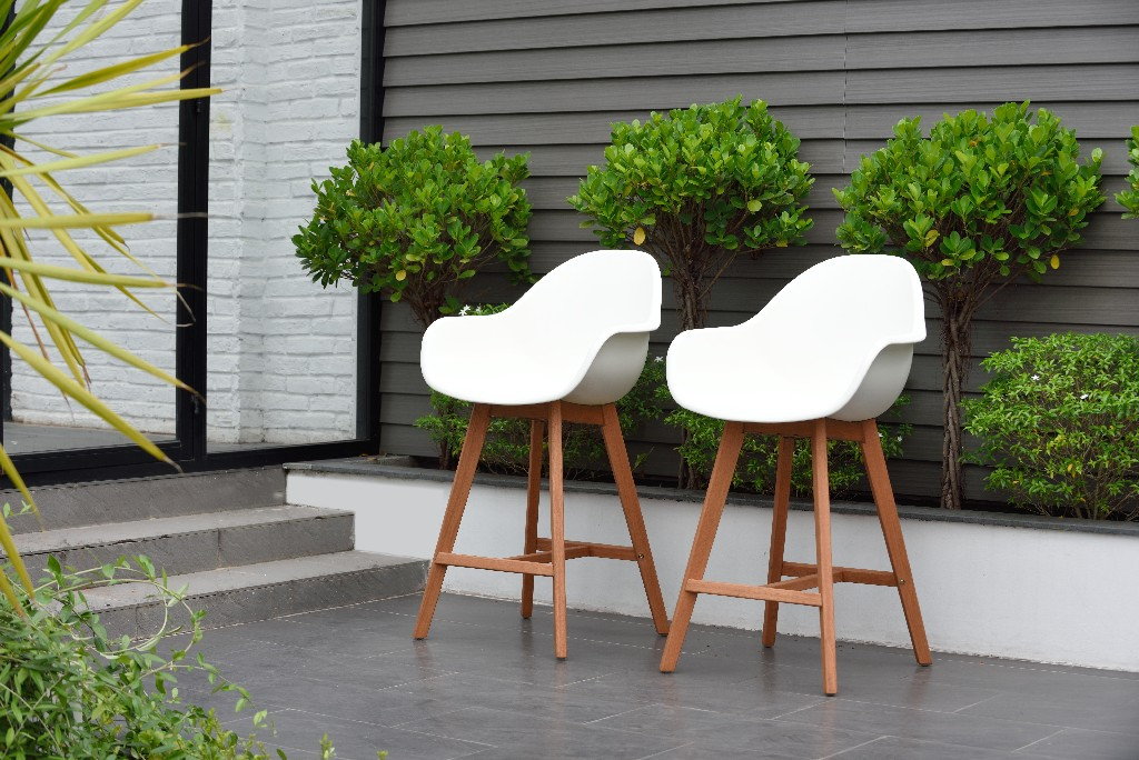 Amazonia Wood 2 Piece Barstool Set - International Home SC 2CONCARM PARWHT
