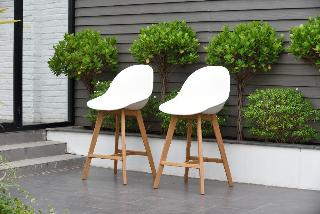 Amazonia Wood 2 Piece Barstool Set, in a Light Teak Finish - International Home SC 2CONCSIDE LOTWHT