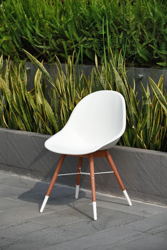 Amazonia Wood 4 Piece Patio Dining Chair Set - International Home SC 4CHAMSIDE WHT DK