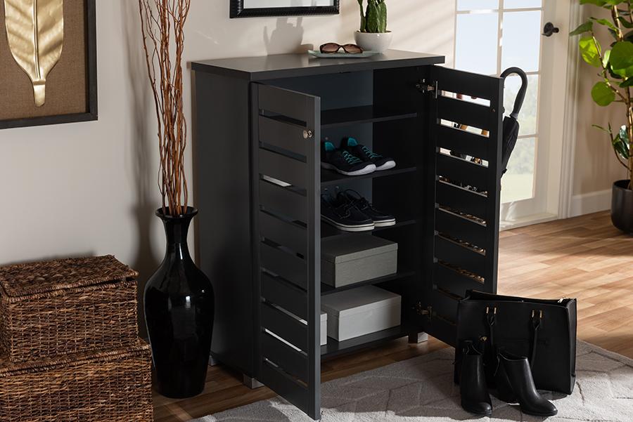 Baxton Studio Adalwin Modern & Contemporary Dark Gray 2-Door Wooden Entryway Shoe Storage Cabinet - SC863522M-Dark Grey-Shoe Cabinet