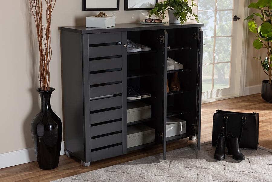 Baxton Studio Adalwin Modern & Contemporary Dark Gray 3-Door Wooden Entryway Shoe Storage Cabinet - SC863533M-Dark Grey-Shoe Cabinet