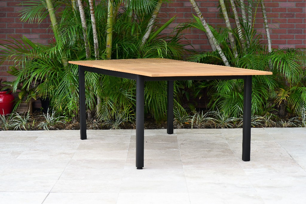 Amazonia Bowery Rectangular Patio Garden Dining Table / Extendable & Teak Finish / Durable & Ideal for Indoors & Outdoors / Black Aluminum - International Home SC IBIS RECT_LOT_BLK