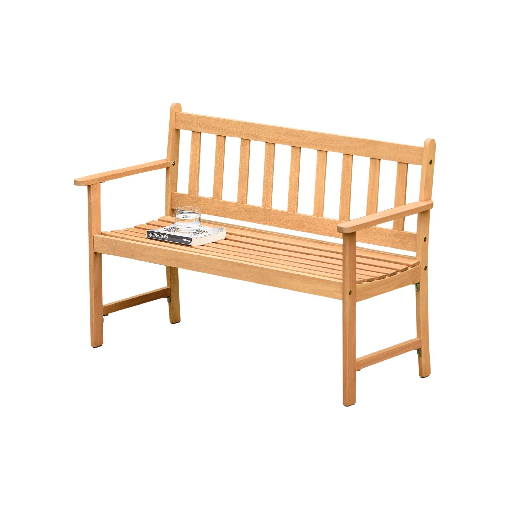 Amazonia Barcelona 2-Seat Patio Bench / Teak Finish / Durable & Ideal for Indoors & Outdoors - International Home SC LAMUBENCH2_LOT