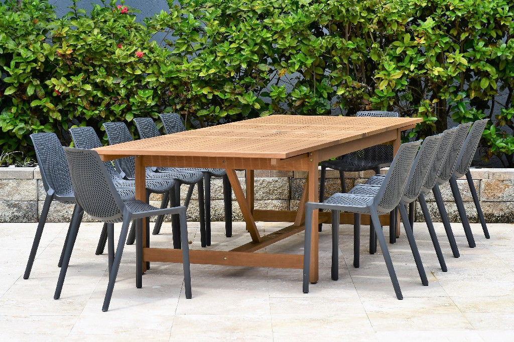 International Home Dining Set Patio Teak Table Resin Chairs Durable