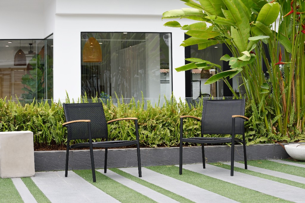 Amazonia Juliette Deluxe Stacking Sofa Chairs / Black & Quick dry Sling Chairs / Durable & Ideal for Indoors & Outdoors (Set of 2) - International Home SC VERASOFA_LOT_BLK