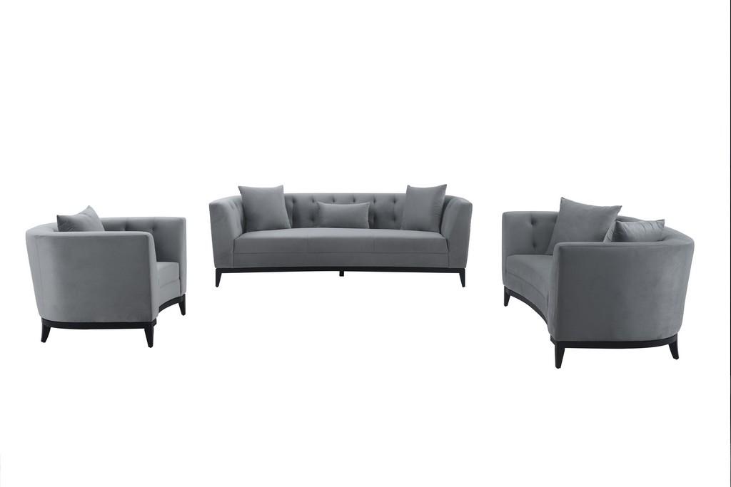 Melange Gray Velvet Living Room Seating Set