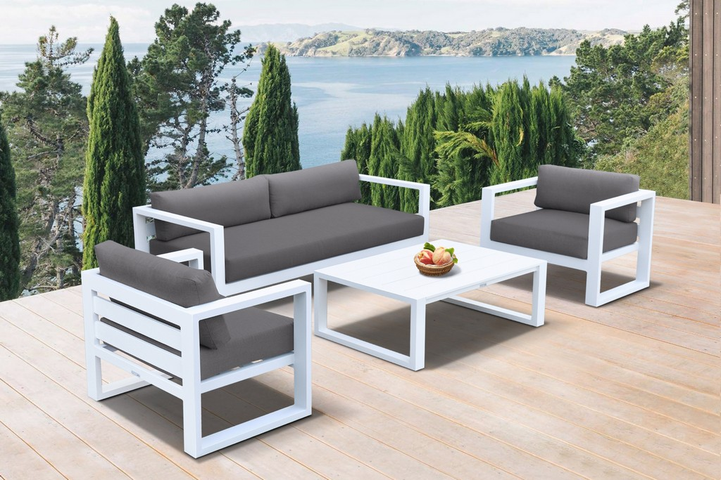 Aelani Outdoor 4 piece Set in White Finish and Charcoal Cushions - Armen Living SETODAEWH
