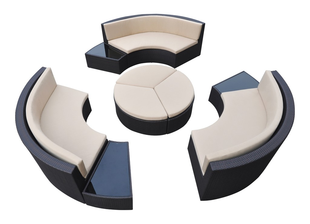 Armen Living Barbados 9 piece Wicker Outdoor Patio Set in Black Powder Coated Finish with Water Resistant Beige Fabric Cushions - Armen Living SETODBABL
