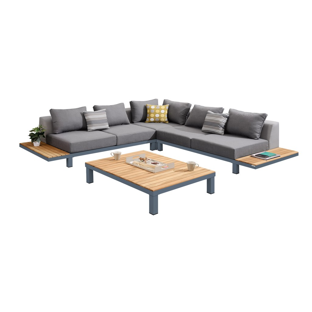 Armen Living Polo 4 piece Outdoor Sectional Set with Dark Gray Cushions and Modern Accent Pillows - Armen Living SETODPO4SE