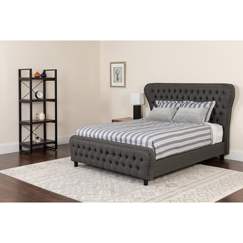 Tufted Upholstered King Platform Bed Silver Accent Nail Trim