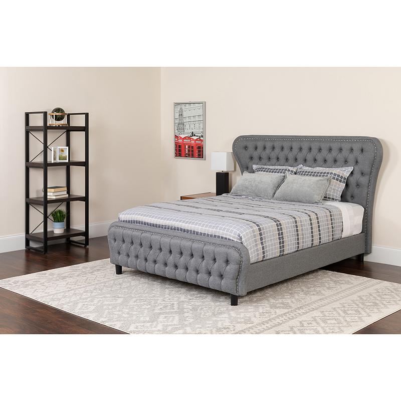 Flash Tufted Upholstered Full Size Platform Bed Light Gray