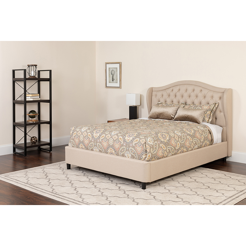Flash Tufted Upholstered King Size Platform Bed Beige Fabric