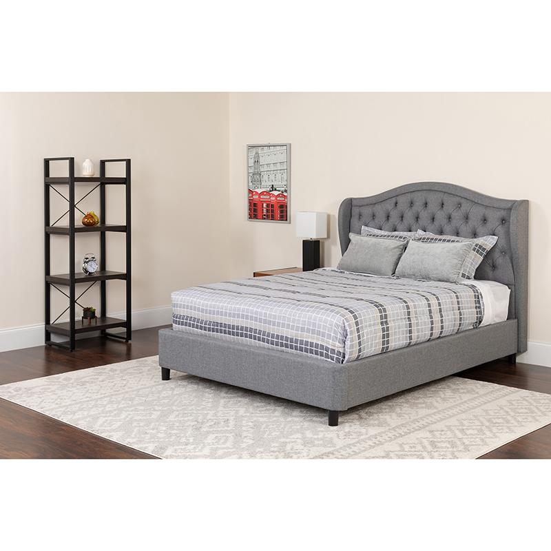 Flash Tufted Upholstered King Size Platform Bed Light Gray