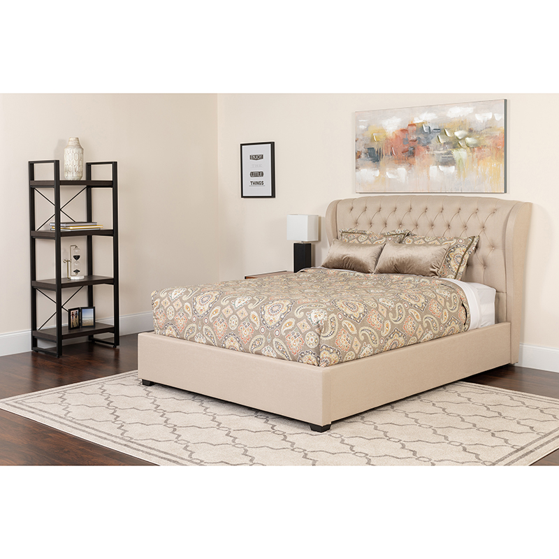Flash Tufted Upholstered Queen Size Platform Bed Beige Fabric