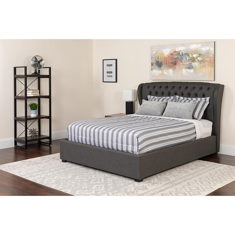 Flash Tufted Upholstered King Size Platform Bed Dark Gray