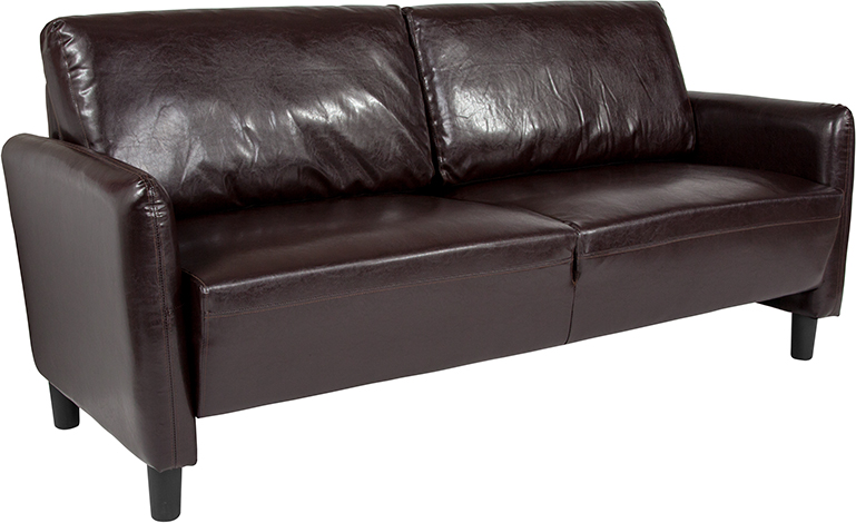 Candler Upholstered Sofa Brown Leather