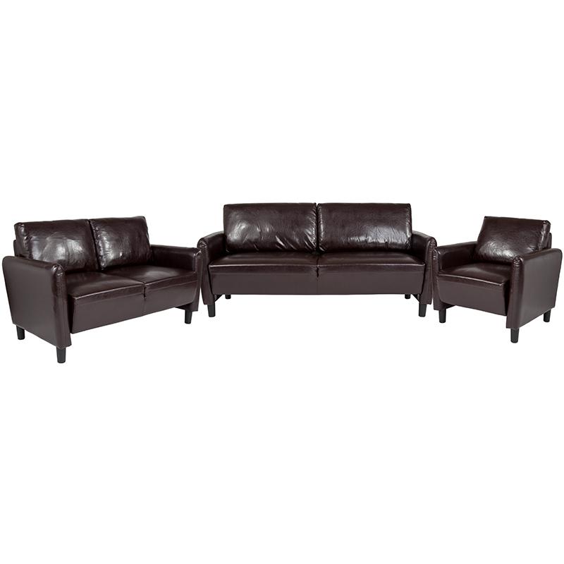 Flash Candler Upholstered Set Brown Leather