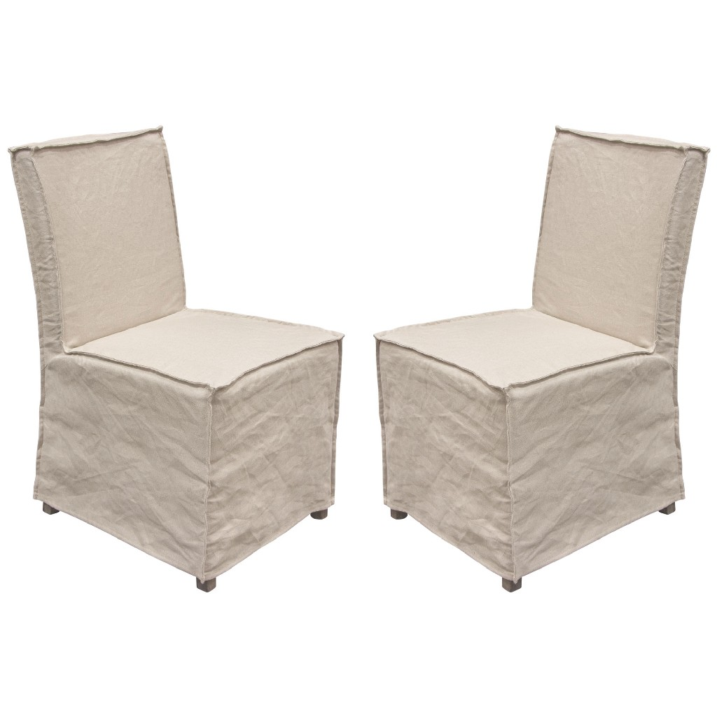 Diamond Sofa Furniture Pack Dining Chairs Wood Legs Sand Linen Removable Slipcover
