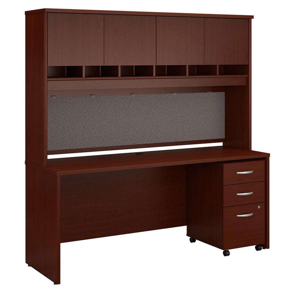 Office Desk Hutch Mobile File Cabinet Mahogany Bush