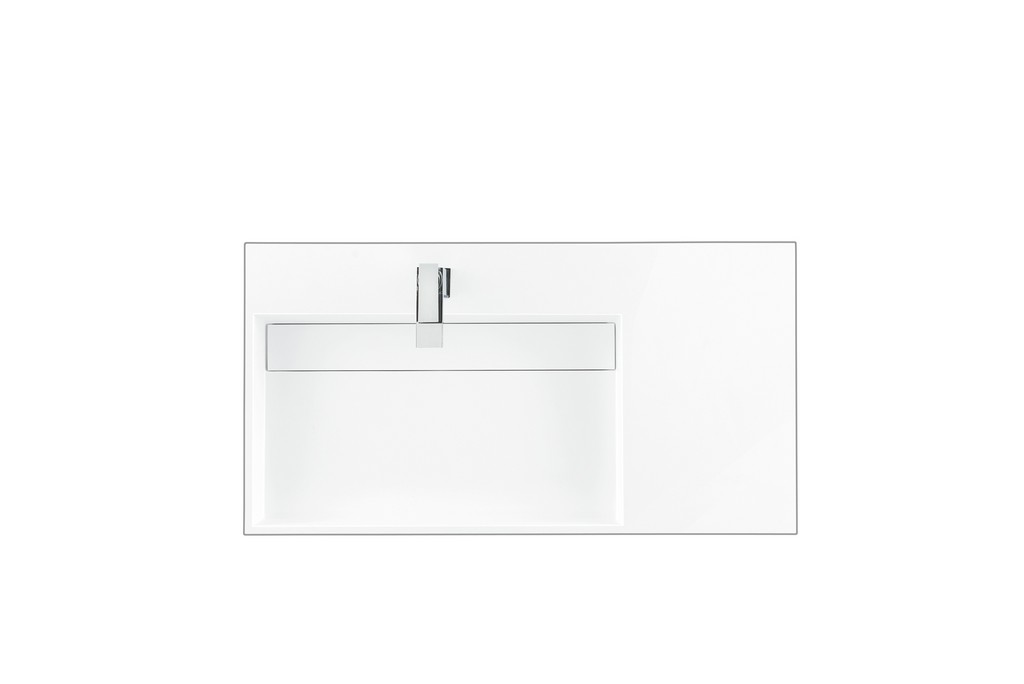 """35.4"""" Vanity Top with 1 Integrated Left-Side Offset Sink, Glossy White - James Martin SS-366-GW"""