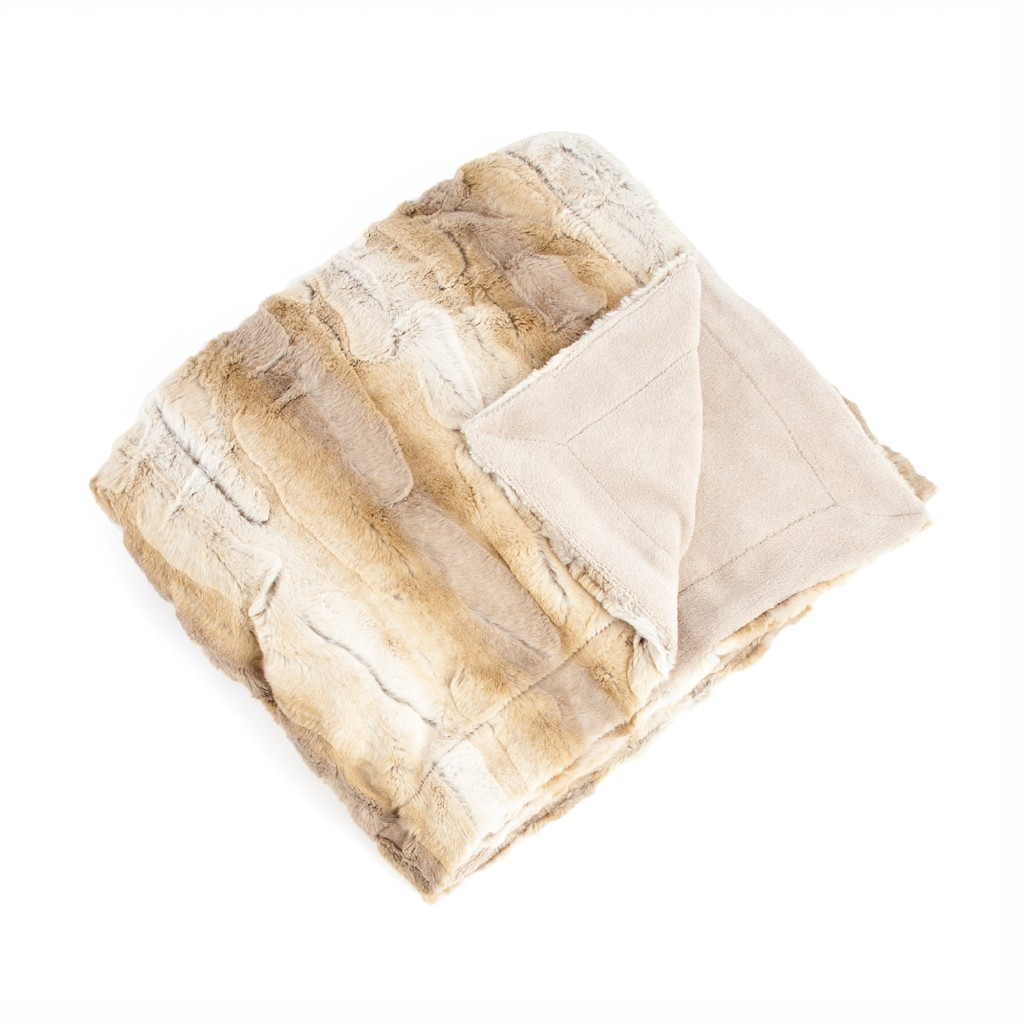 Animal Print Design Faux Fur Throw Blanket - Saro Lifestyle TH050.N5060
