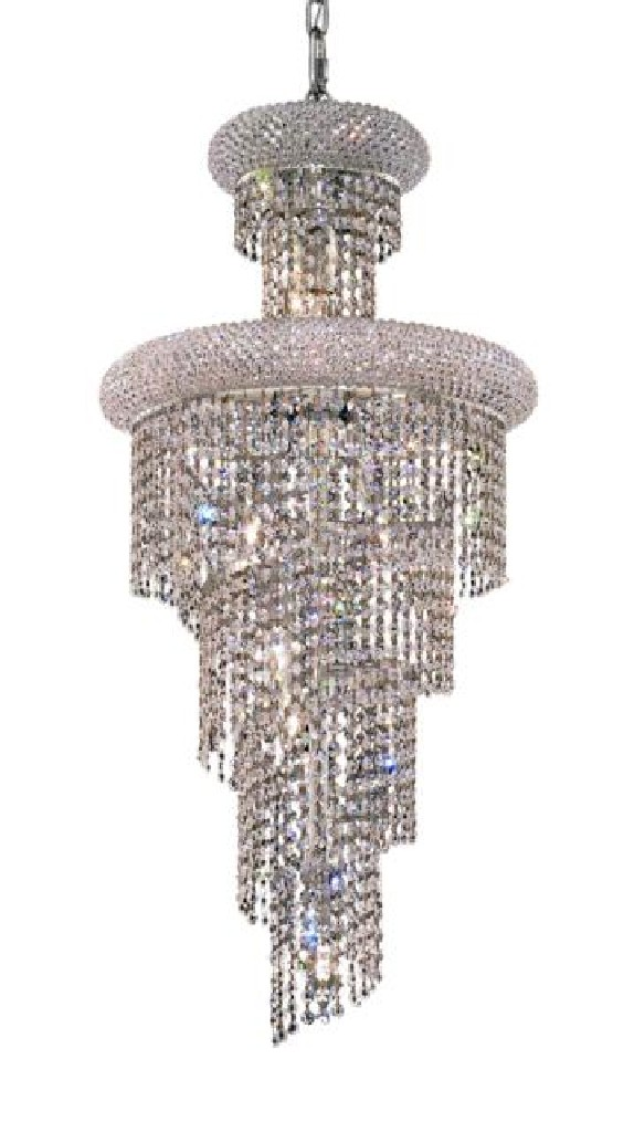 Elegant Lighting Spiral Light Chrome Pendant Clear Royal Cut Crystal