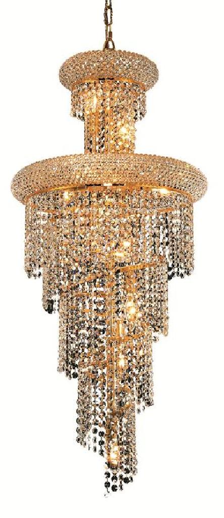Elegant Lighting Spiral Light Gold Pendant Clear Royal Cut Crystal
