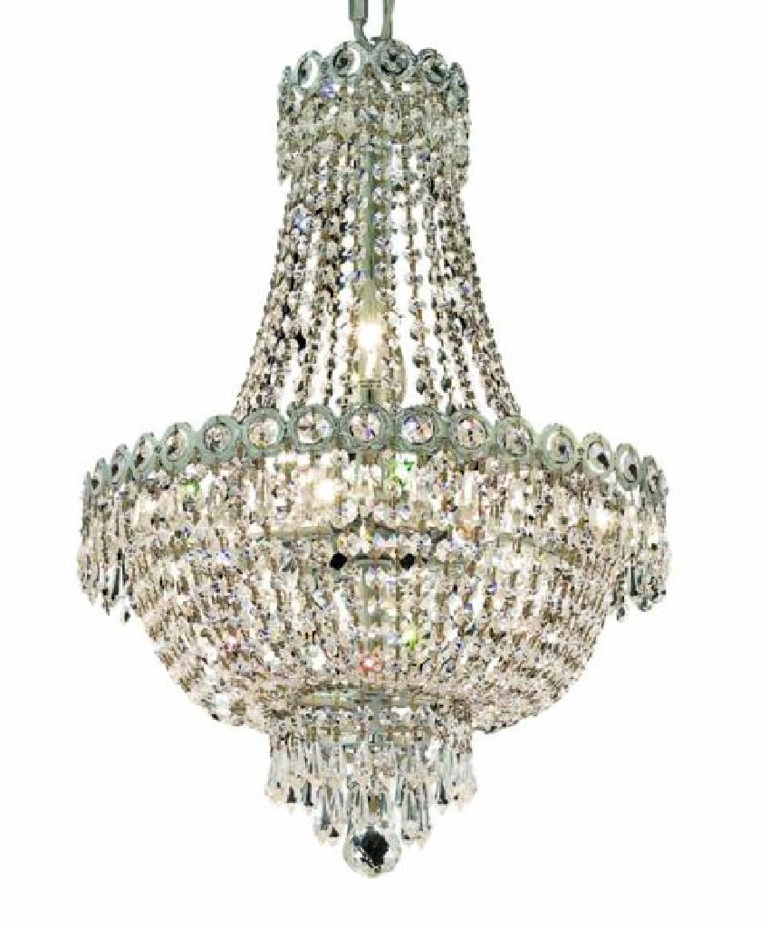 Elegant Lighting Century Light Chrome Pendant Clear Swarovski Elements Crystal