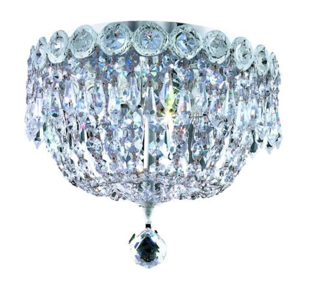 Elegant Lighting Century Light Chrome Flush Mount Clear Swarovski Elements Crystal