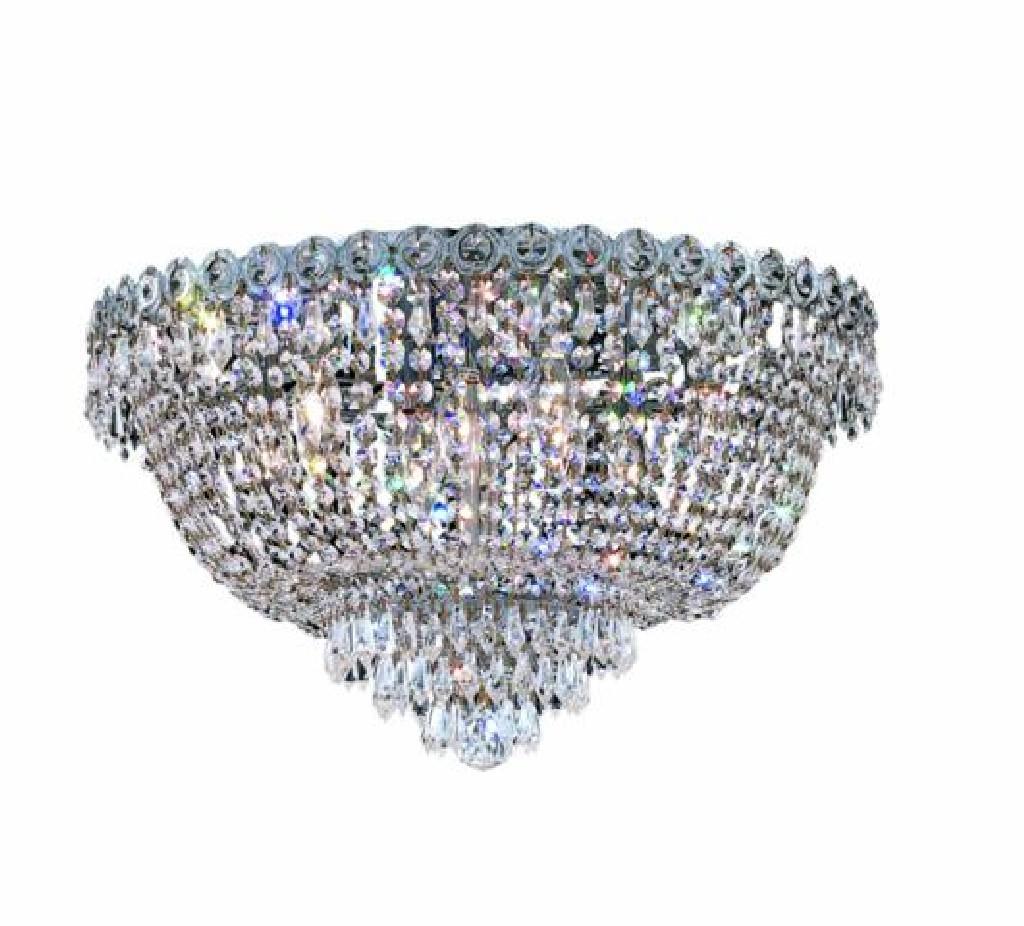 Elegant Lighting Century Light Chrome Flush Mount Clear Elegant Cut Crystal