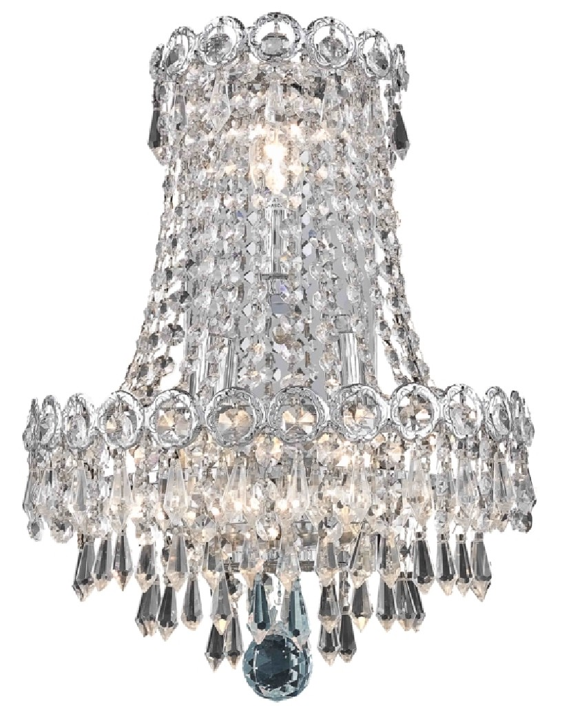 Elegant Lighting Century Light Chrome Wall Sconce Clear Swarovski Elements Crystal
