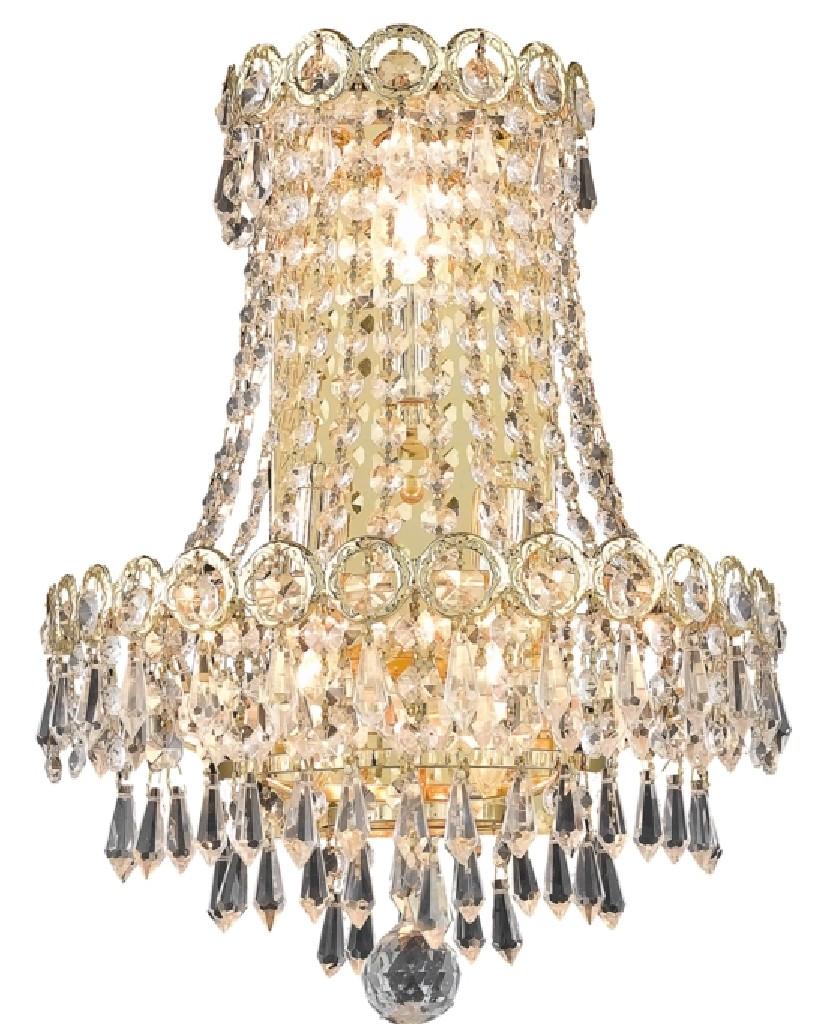Elegant Lighting Century Light Gold Wall Sconce Clear Swarovski Elements Crystal
