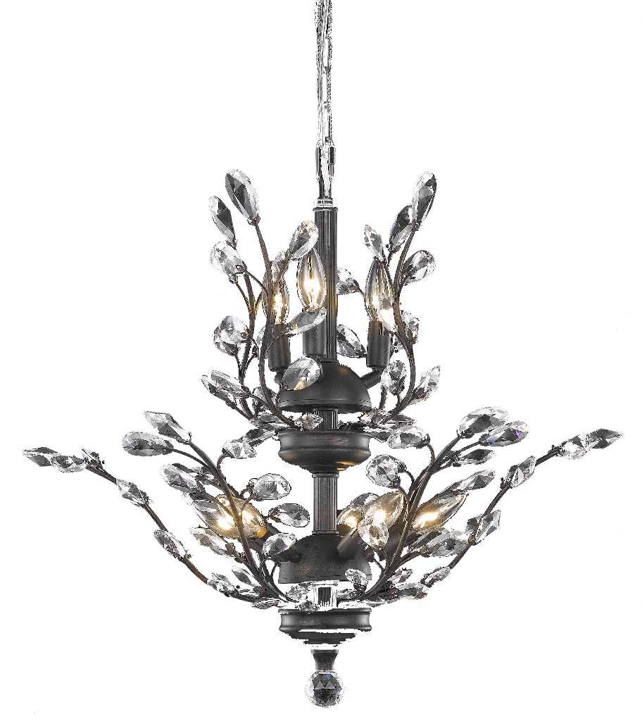 Elegant Lighting Light Dark Bronze Chandelier Clear Elegant Cut Crystal
