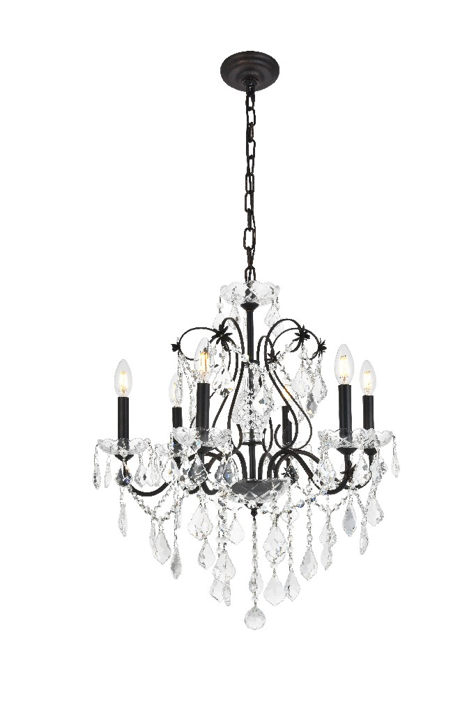 Elegant Lighting Light Dark Bronze Chandelier Clear Swarovski Elements Crystal