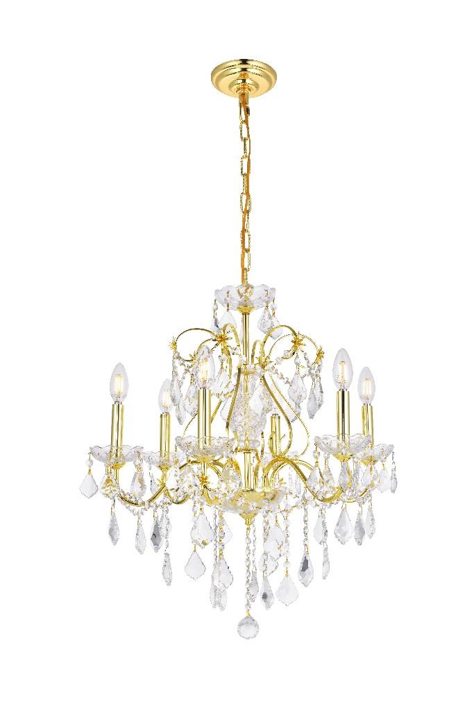 Elegant Lighting Light Gold Chandelier Clear Swarovski Elements Crystal