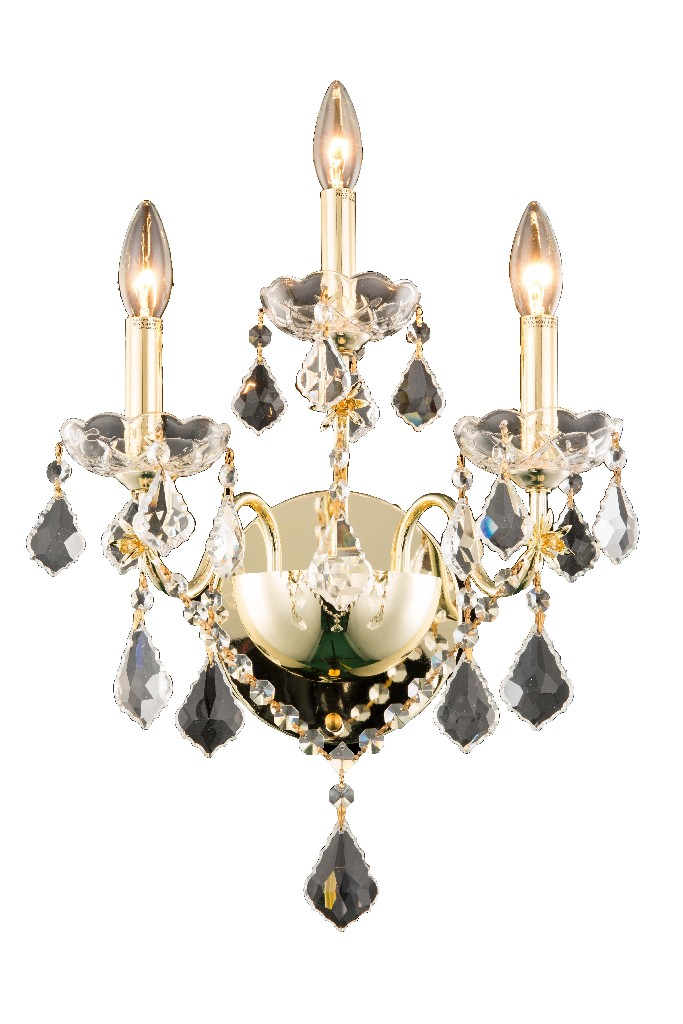 Elegant Lighting Light Gold Wall Sconce Clear Swarovski Elements Crystal