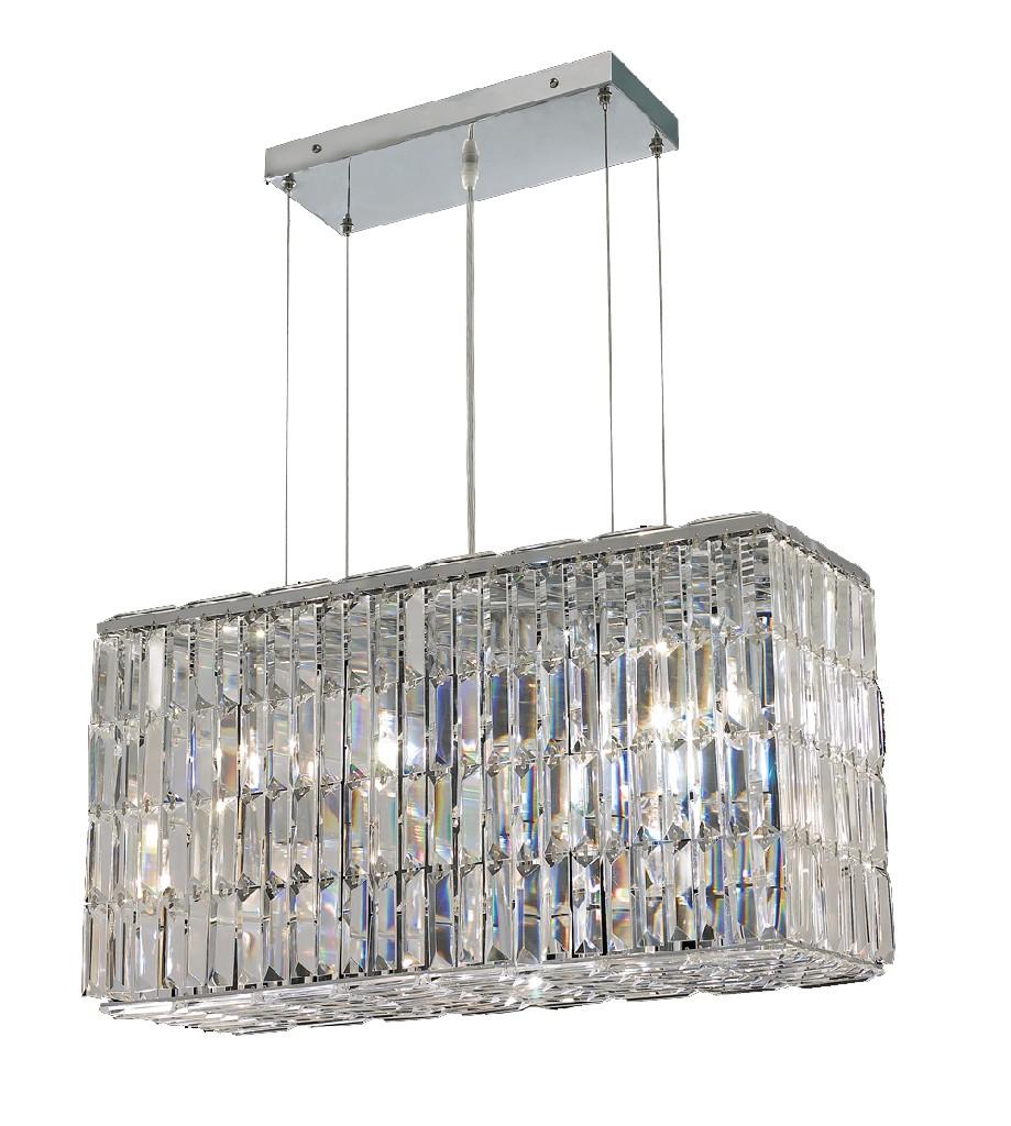 Lighting Chrome Chandelier Light Teak